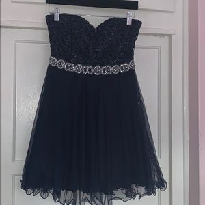 Navy blue sparkly strapless sweetheart dress
